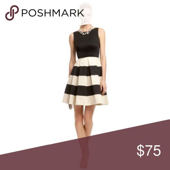 """Kate Spade Celina dress In new condition. Black and cream dress with wide pleats and flared skirt. Side zip with hook-and-eye closure. Removable belt. Approx. length from shoulder to hem: 39"""". Cotton/Lycra® spandex; dry clean. kate spade Dresses"""