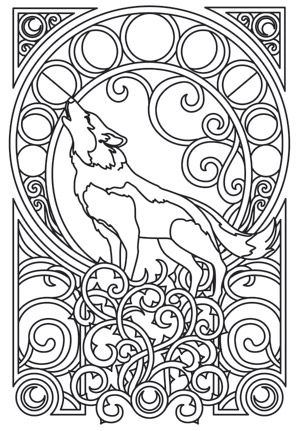 American Hippie Art Coloring Pages Howl At The Moon