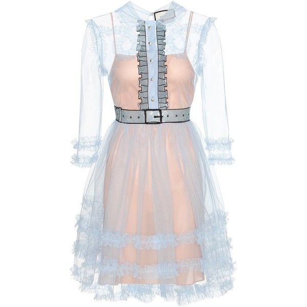 Gucci Embellished Ruffled Tulle Dress ($4,200) ❤ liked on Polyvore featuring dresses, gucci, blue, blue ruffle dress, blue dress, ruffle cocktail dress, ruffled dresses and frilly dresses