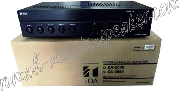 Amplifier TOA 60 Watt, model ZA-2060 !  High dan low impedance, cocok untuk pemasangan di mushola yang tidak perlu banyak speaker karena tidak terlalu luas.  Contoh Pemasangan : 2 bh horn TOA ZH-5025 BM ( 2 x 25 Watt), ATAU 4 bh Box speaker TOA model ZS-1030 --> hati-hati rubah setting 15 Watt.  Specifications: Power Source 220 - 240 V AC, or 24 V DC Rated Output 60 W Power Consumption 72 W (EN60065), 4 A (DC operation at rated output) Frequency Response 50 - 20,000 Hz (3 dB) Distortion 1...