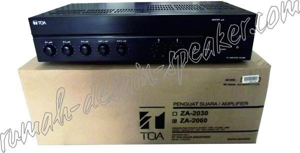 Amplifier TOA 60 Watt, model ZA-2060 !  High dan low impedance, cocok untuk pemasangan di mushola yang tidak perlu banyak speaker karena tidak terlalu luas.  Contoh Pemasangan : 2 bh horn TOA ZH-5025 BM ( 2 x 25 Watt), ATAU 4 bh Box speaker TOA model ZS-1030 --> hati-hati rubah setting 15 Watt.  Specifications: Power Source 220 - 240 V AC, or 24 V DC Rated Output 60 W Power Consumption 72 W (EN60065), 4 A (DC operation at rated output) Frequency Response 50 - 20,000 Hz (3 dB) Distortion 1...