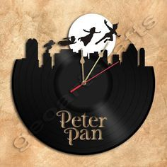 Peter Pan Wall Clock Vinyl Record Clock Upcycled Vinyl by geoartcrafts on Etsy