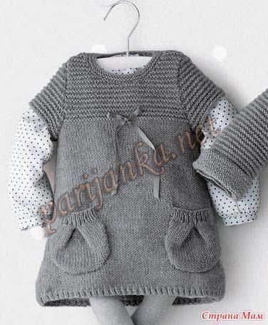 Вязаное платье для малышки спицами