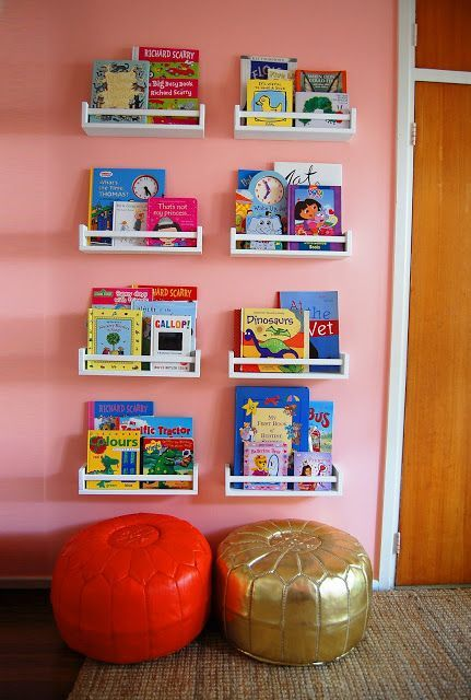 Ikea Spice Racks Turned Bookshelves in the kids room to help her #organize her books! Love it! We'll likely paint them to match her decor!