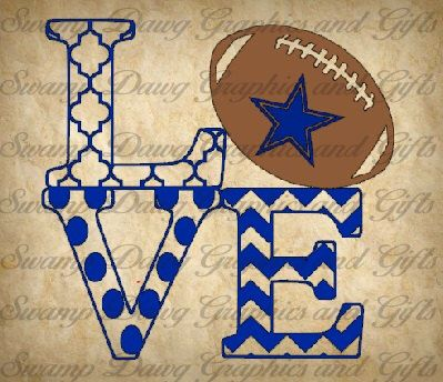Cowboys Love cut file, silhouette, cricut, svg, decal, vinyl, nfl, sports, dallas, texas, quatrefoil, chevron, polka dot by SwampDawgGraphics on Etsy https://www.etsy.com/listing/245469817/cowboys-love-cut-file-silhouette-cricut