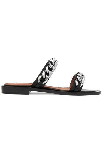 Givenchy - Chain-trimmed Leather Sandals - Black - IT