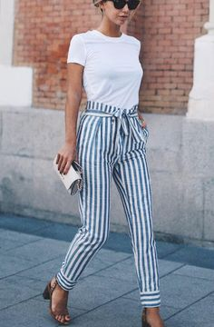 Simple Classic Summery - blue and white striped pants with a white t | Her Couture Life www.hercouturelife.com