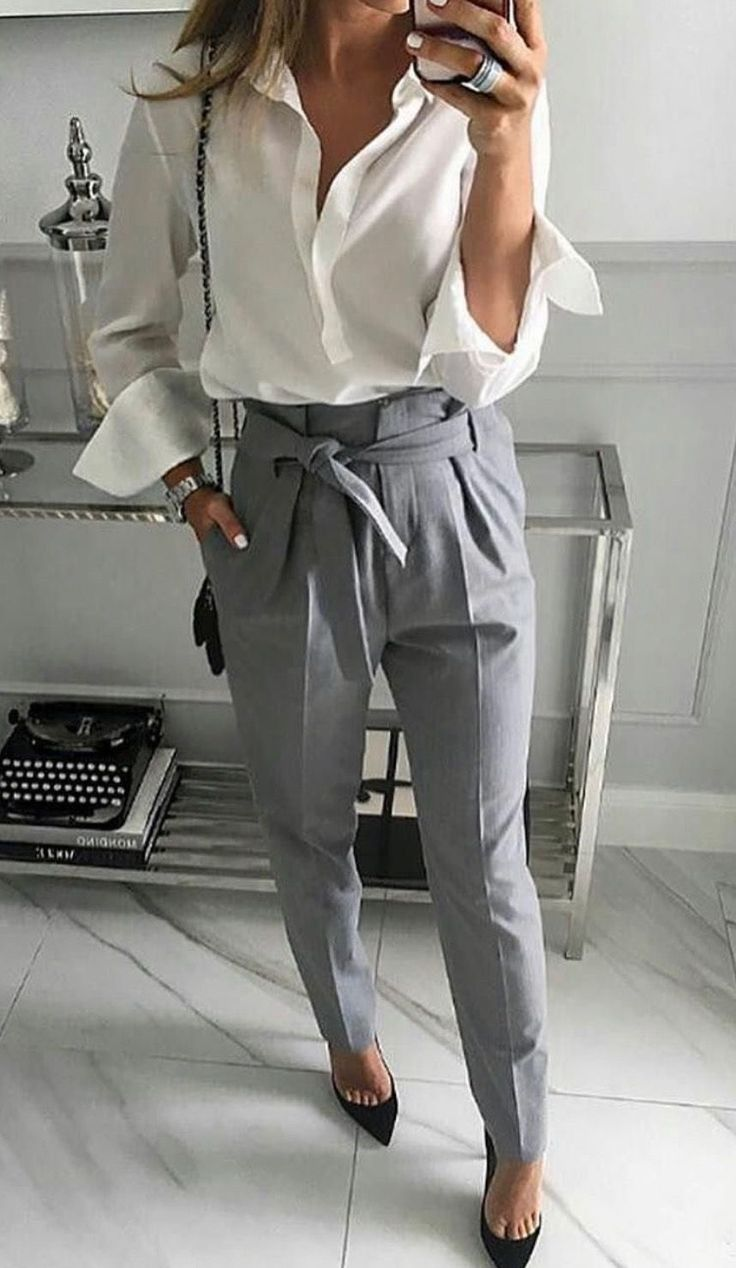 Gray pants with off white blouse