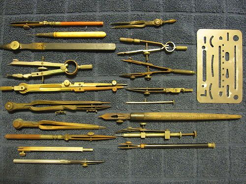 Antique Vintage Mixed Lot Drafting Tools Calligraphy
