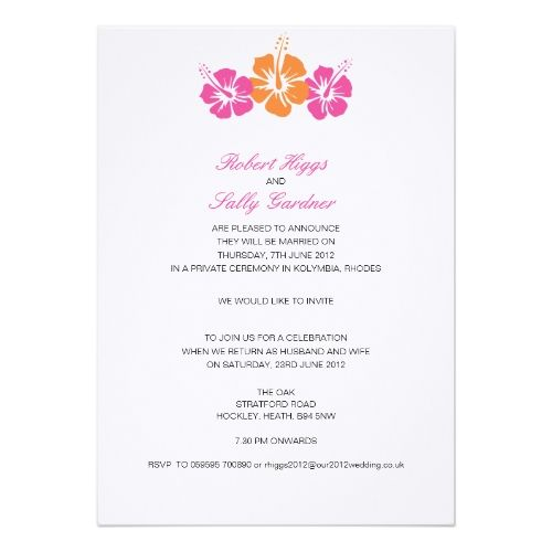 Summer Wedding Reception Monogram Hibiscus Flower Card