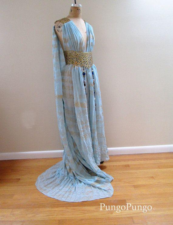 "Game of Thrones Daenerys Targaryen Qarth Dress - READY to SHIP Simple Version- Khaleesi Costume Ocean Mist Blue Gown Qarth Belt Cosplay 5'4"""