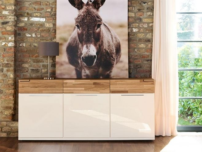 Arte M Feel Solid Oak And High Gloss White Or Grey Contemporary Sideboard. #