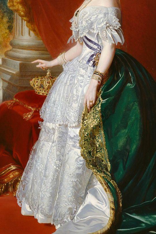 Empress Eugenie in Court Dress (detail), by Franz Xaver Winterhalter, 1853. Oil on canvas.