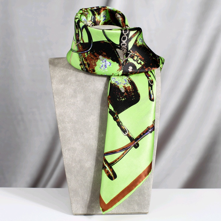 Loops and Chain Silk Scarf Tie Through Style Wrap