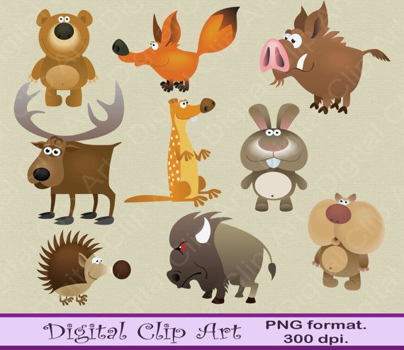 Forest animals Clipart Woodland Clipart by digitalcliparts on Etsy