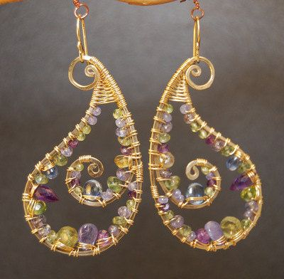 Luxe Bijoux 176 Hammered Paisley Earrings by CalicoJunoJewelry, $240.00