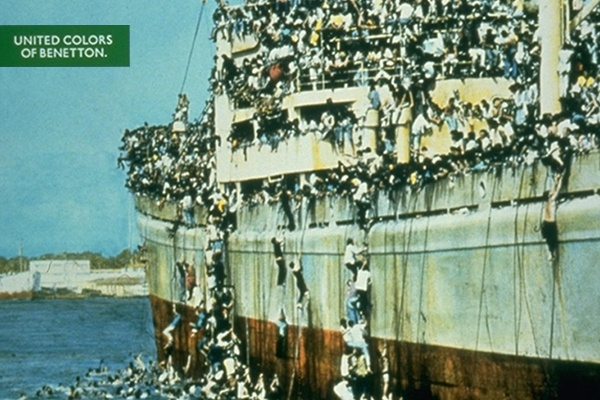 A boat overcrowded with Albanians attempting entry into Italy Benetton's Most Controversial Advertising Campaigns 1992