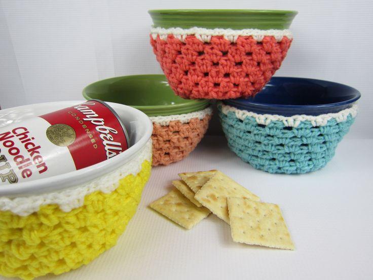 Crochet Bowl Cozy, housewarming kitchen gift, Crochet gift item, crochet bowl sleeve, peach salmon yellow blue, handmade gifts under 20 - pinned by pin4etsy.com