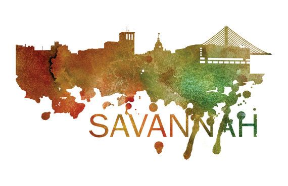 Savannah Art, Savannah Skyline, Savannah map, Savannah skyline, Savannah map print  A beautiful Watercolor Art print of Savannah, Georgia.
