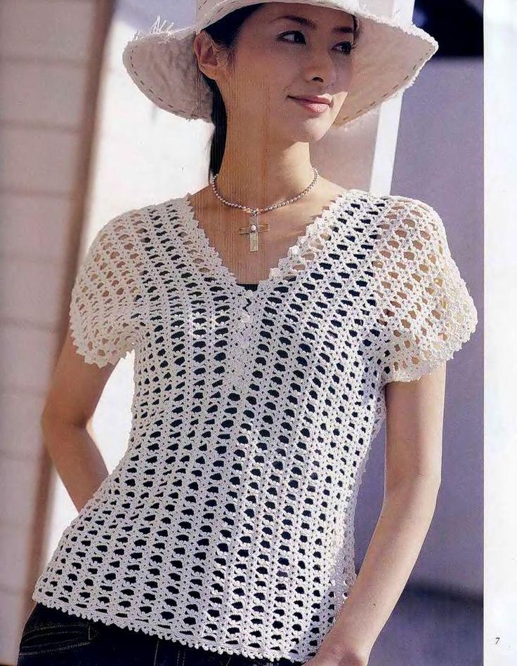 Crochetemoda: Blusa Branca de Crochet  if I can translate it!