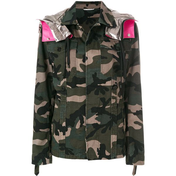 Valentino Camouflage Cargo Jacket (15315740 PYG) ❤ liked on Polyvore featuring men's fashion, men's clothing, men's outerwear, men's jackets, green, mens oversized denim jacket, mens patch jacket, mens green jacket, mens cotton jacket and mens cargo jacket