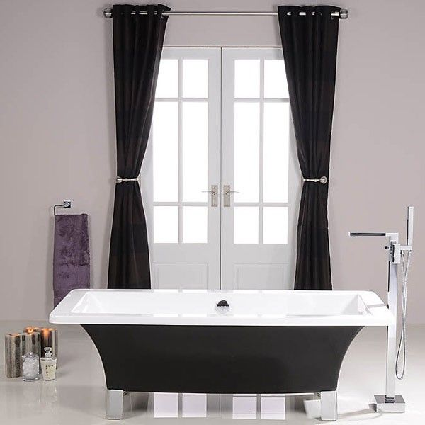 Solis Black 1600 Free Standing Bath, priced at £372.95. The Solis Black Free Standing Bath comes complete with modern chrome feet. Order now at - http://www.taps.co.uk/solis-black-1600-free-standing-bath.html