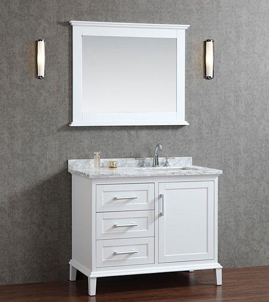 Ariel Nantucket (single) 42-Inch Alpine White Transitional Bathroom Vanity Set