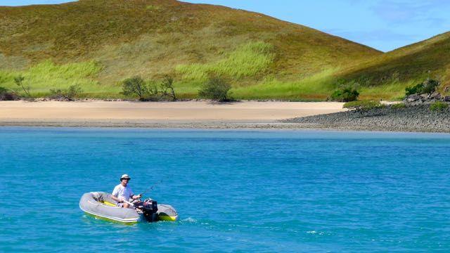 Pilgrim Sailing the Queensland coast - Paul fishing at Hunter Island
