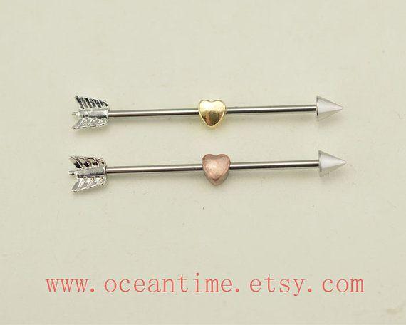 industrial barbell piercing,little heart industrial barbell,arrow piercing jewelry, arrow ear jewelry,friendship gift,oceantime on Etsy, $6.99