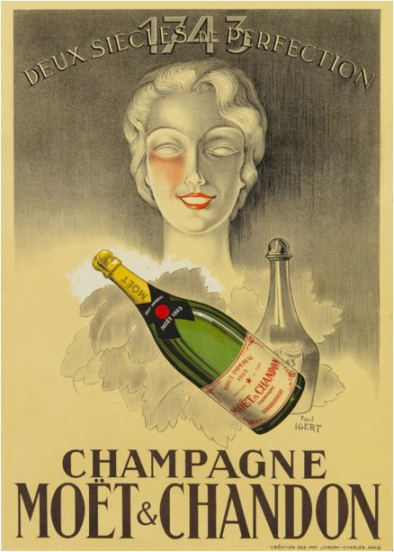 soyouthinkyoucandrink  depuis 1737  paris-  Paul Igert, (French, b. 1899), Champagne Moët & Chandon  Paul Igert (French)