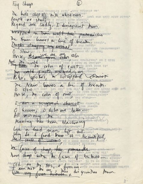 "Draft of ""Sheep in Fog"" by Sylvia Plath : http://www.bonhams.com/auctions/20923/lot/373/"