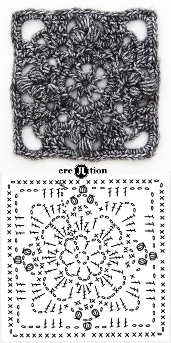 Her work is awesome. image and crochet diagram flower square poncho by creJJtion