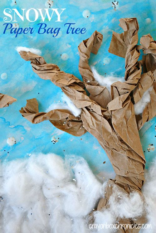 Winter Book & Craft: Snowy Paper Bag Tree Craft by Crayon Box Chronicles