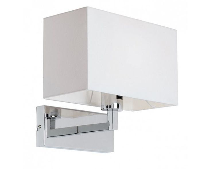 endon piccolo switched wall light has a polished chrome finish with a square white shade