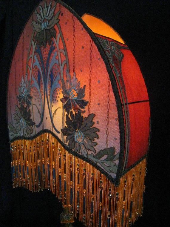Antique Floor Lamp Shade Arts u0026 Crafts handmade Art deco/Art Nouveau  lampshade Beaded fringe