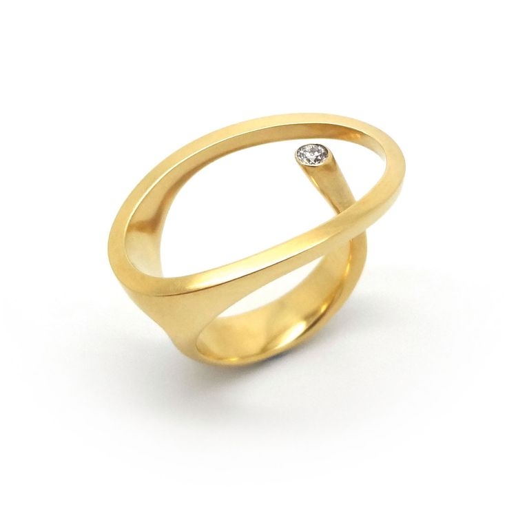 www.ORRO.co.uk - Angela Hubel - Yellow Gold & Diamond Klein-Stein Ring - ORRO Contemporary Jewellery Glasgow