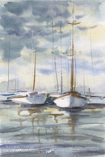 Поймите принцип создания отражения в воде и научитесь рисовать реалистичные морские пейзажи акварелью!