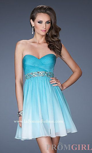 Short Strapless Ombre Cocktail Dress by La Femme at PromGirl.com