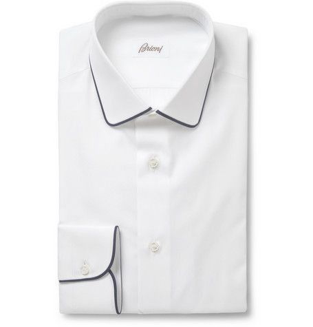 Brioni White Slim-Fit Cotton Shirt | MR PORTER