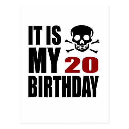 #It Is My 20 Birthday Designs Postcard - #giftidea #gift #present #idea #number #twenty #twentieth #bday #birthday #20thbirthday #party #anniversary #20th
