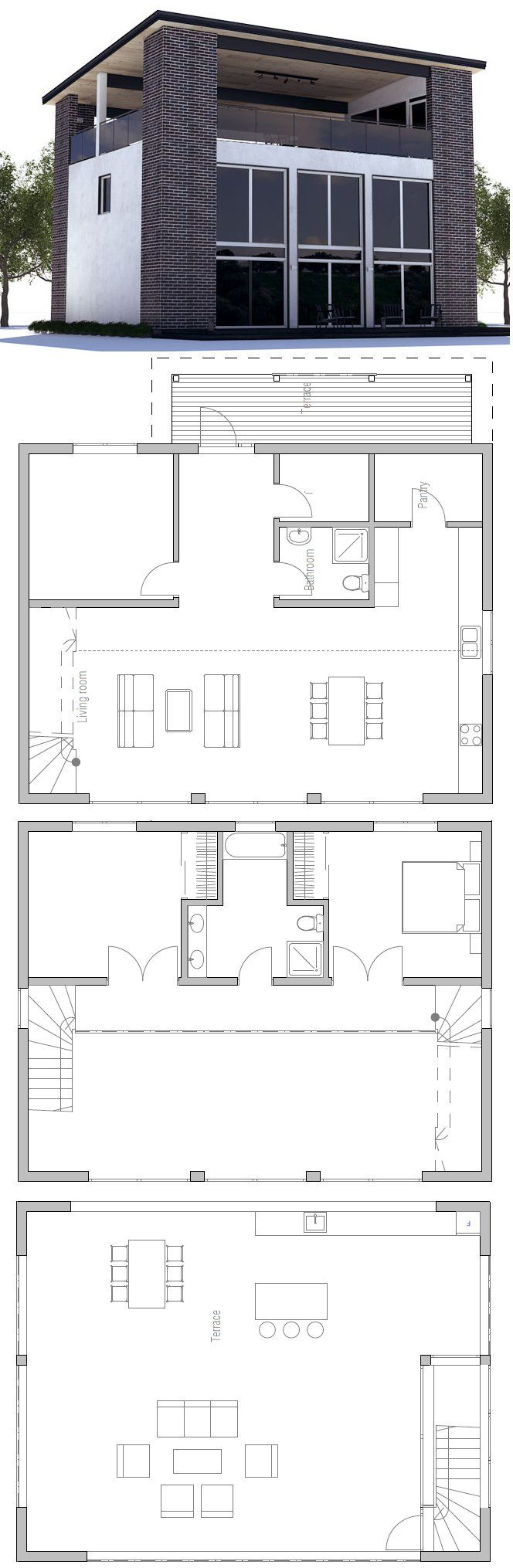 Small House to tiny lot with three bedrooms. Roof top terrace. Floor Plan from ConceptHome.com