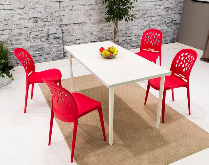 Atomic RED Retro Mid Century Modern Style Teardrop Dining Chair Set of 4 - CLEARANCE