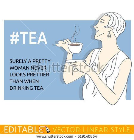 Retro woman with cup of tea. Meme card. Editable outline sketch. Stock vector illustration.