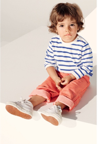 red pants, stripey top