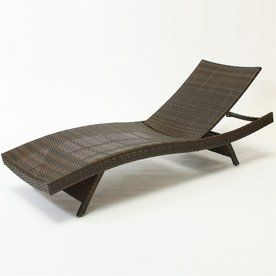 Woven Seat Wicker Single Patio Chaise Lounge Patio