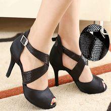 Zapatos de mujer De Baile latino de baile latino zapatos de baile de descuento Bajo cordones de satén de Alta calidad de piel de Serpiente sandalias inferiores Suaves Para chica