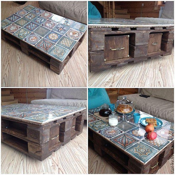 Купить Стол журнальный - столик, Стол журнальный, керамика, дерево, поддон, стол, декор, интерьер