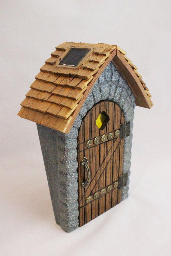 Puerta hada, talladas a mano, luz accionada Solar, vidrieras, jardín de hadas, jardines miniatura, piedra, miniaturas, OOAK