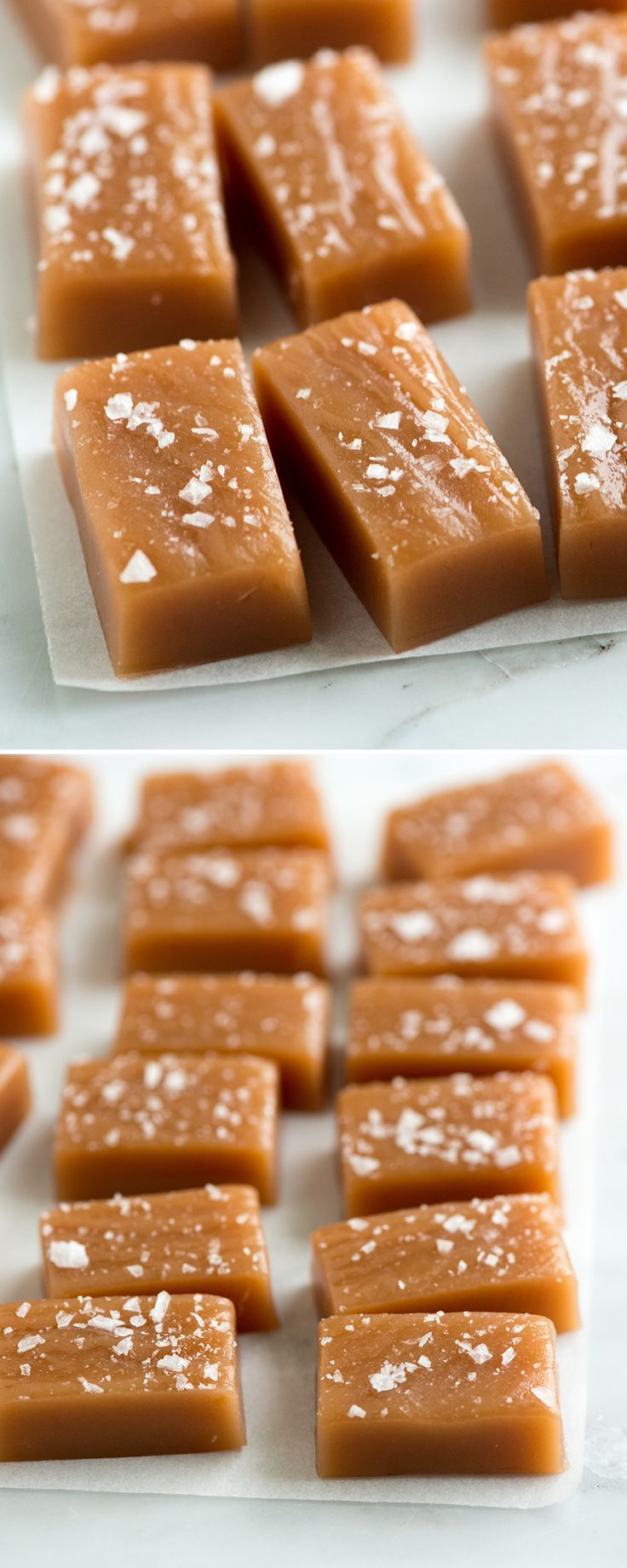 Simple Salted Caramels - These salted caramels are soft, chewy and perfectly melt away in your mouth.