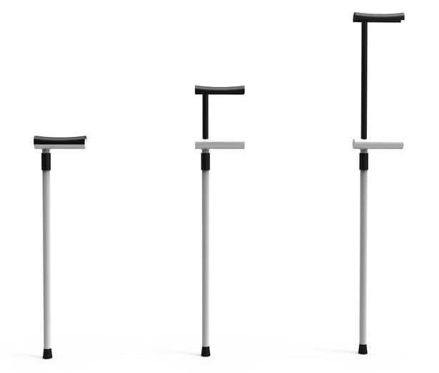 Stick 1/2 is a foldable stick for the elderly and disabled people. This smart design allows the stick to be used as a traditional stick or as a crutch.